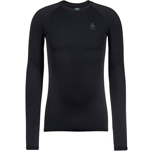 Odlo Men\'s Performance WARM ECO Long-Sleeve Base Layer Top, Black - New odlo Graphite Grey, M