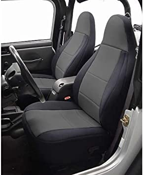 Jeep Wrangler Pair of Front GREY /& BLACK Leatherette Car Seat Covers