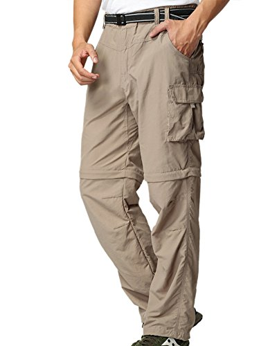Men's Outdoor Anytime Quick Dry Convertible Lightweight Hiking Fishing Zip Off Cargo Work Pant #225,Khaki,L 36