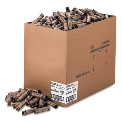MMF Preformed Tubular Coin Wrappers, Nickels, $2, 1,000 Wrappers per Box (Case of 3)