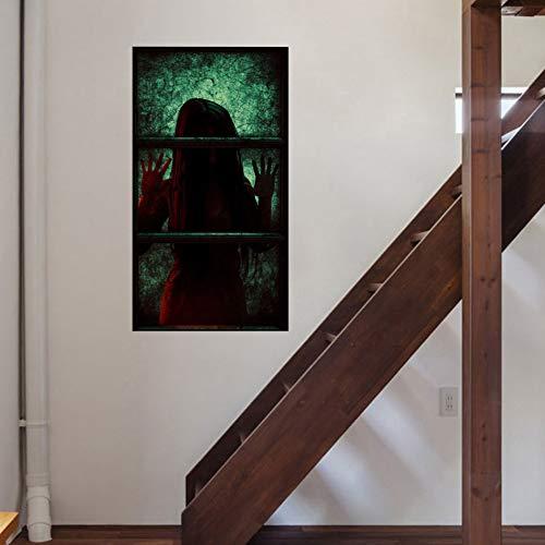 ZOZVDLong Hair Sadako Halloween Wall Stickers Glass Stickers Living Room Bedroom Decoration Wall Stickers