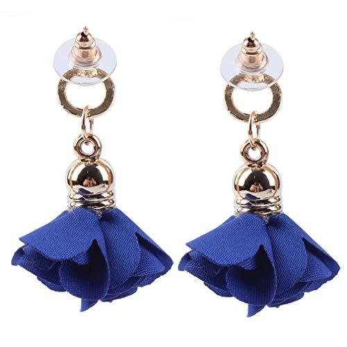 Pinhan - Pendiente largo de pétalos de flor, hecho a mano, elegante, floral, para colgar, para boda, compromiso, joyería para mujer, Aleación, azul marino, 3.7 * 3cm