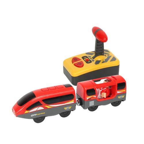 Haodene Modelo eléctrico con Mando a Distancia - Radio Control Juguete de Tren para Thomas IKEA Brio Madera Pista