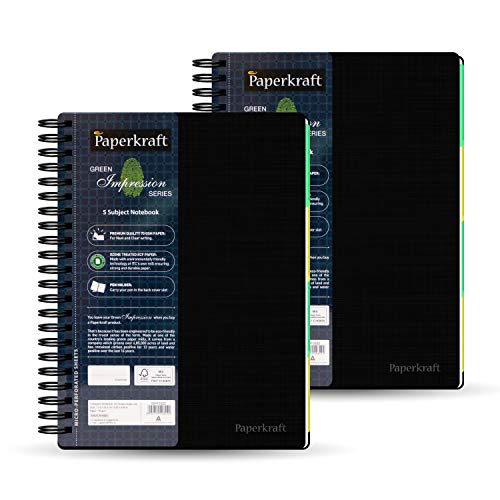 """Price comparison product image Paperkraft Green Impression,  5 Subject College Ruled Spiral Wirebound Notebooks,  Eco-Friendly Paper,  150 Sheets,  B5 (9.8"""" x 6.9"""") - 2 Pack"""