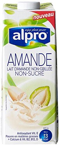 Alpro Boisson Non Sucrée à Base d'Amandes Non Grillées avec Calcium/Vitamines Ajoutés 1 L - Lot de 4