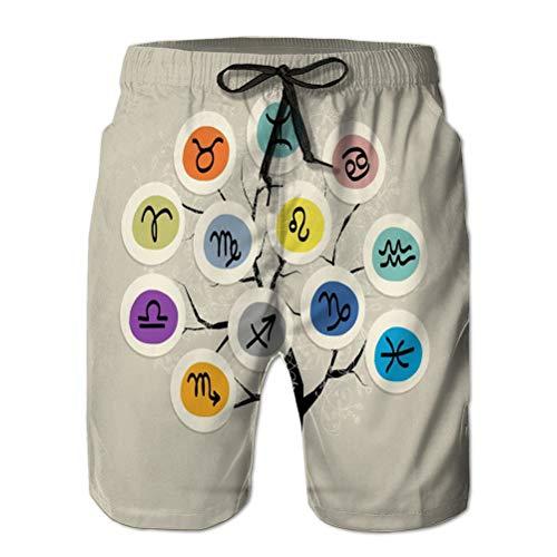 LJKHas232 Herren Strandshorts Sommer Quick Dry Swimming Pants Kunstbaum Sternzeichen signiert Ihr Design Vintage Refreshing XXL