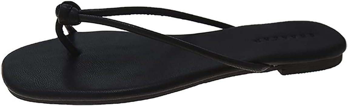 QUNHU Flip Flop,Women's Slim Flip Flops Summer Flat-Bottomed Flip Flops and Flip-Flops Soft Non-Slip Beach Flip-Flops Suitable for Travel Swimming Shopping (Color : Black, Size : 38EU)