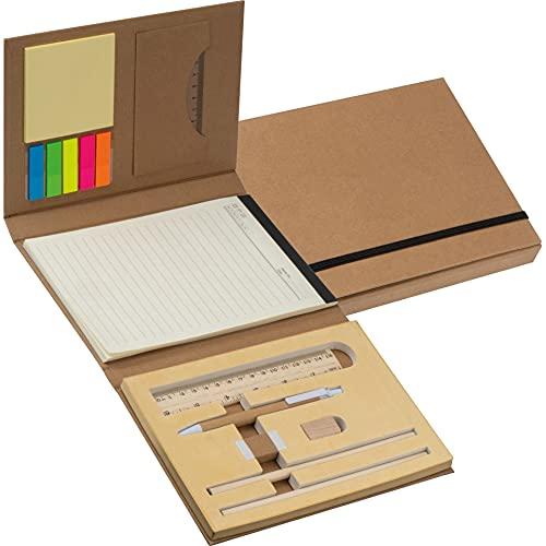 Nachhaltiges Schreibset | Schreibmappe mit Stiften, Lineal, Schreibblock und Haftmarkern | Aufklappbare Mappe mit Kartoneinband und Gummiband zum Verschließen | Für Schule, Uni oder Arbeit |Notizbuch