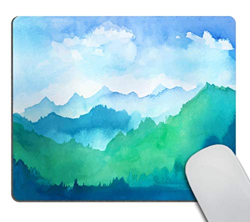 Smooffly Mousepad Mountain Watercolor Design Customized Rectangle Non-Slip Rubber Mousepads Gaming Mouse Pad
