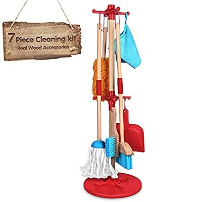 Kids Cleaning Set 7 Piece - Wooden Detachable Toy Cleaning Set Includes Kid-Sized with Housekeeping Broom, Mop, Duster, Dustpan, Brush, Rag, and Organizing Stand for Toy Kitchen Toddler Cleaning Set from AOKESI