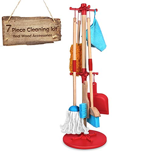 Kids Cleaning Set 7 Piece - Wooden Detachable Toy Cleaning Set Includes Kid-Sized with Housekeeping Broom, Mop, Duster, Dustpan, Brush, Rag, and Organizing Stand for Toy Kitchen Toddler Cleaning Set