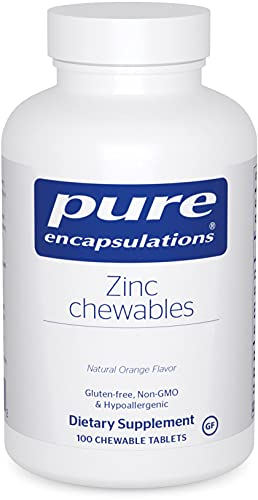 Pure Encapsulations Zinc Chewables   Supplement for Immune System Support, Growth and Development, Wound Healing, Prostate, and Reproductive Health*   100 Chewable Tablets   Natural Orange Flavor