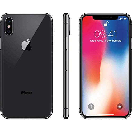Apple iPhone X, 64GB, Silver – Fully unlocked- Desbloqueado(Renewed)