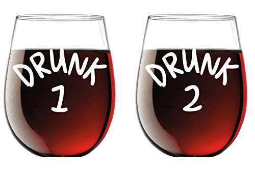 Drunk 1 and Drunk 2 15oz Crystal Wine Glass Set - Mr and Mrs Housewarming Birthday - His Hers Engagement Couple Drinkware Bridal Shower Newlywed Wedding Anniversary Husband Wife - CBT Wine Glasses