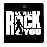 体重計 ヘルスメーター ボディスケール バックライト付 強化ガラス 電源自動オン クィーン We Will Rock You 高精度 薄型 収納便利 健康管理 巻き尺付き 体組成計 電池式