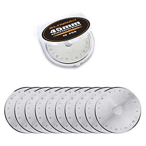 Slynnar Rotary Cutter Replacement Blades 45mm, Fits Olfa, Fiskars, Martelli, Clover & Truecut 10 Pack