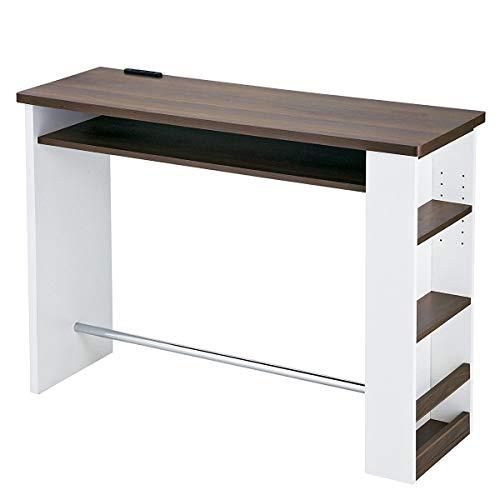 宮武製作所 カウンターテーブル Latte 幅120×奥行き39.5×高さ85cm ホワイト 2口コンセント付き KNT-1200 WH