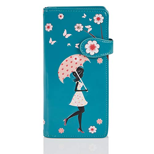 Shagwear Portemonnaie Geldbörse für Junge Damen, Mädchen Geldbeutel Portmonaise groß Designs:, Blütenregen Türkis/ Blossom Shower, Large
