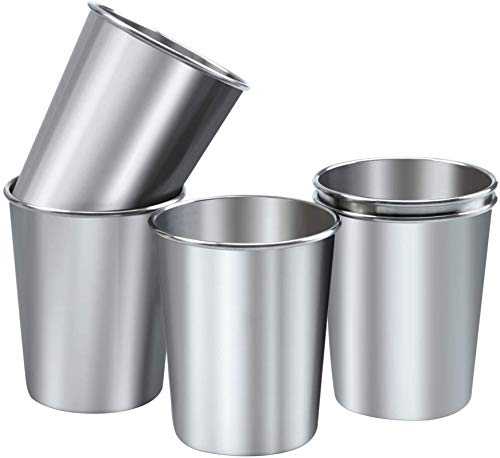 8 Ounce Stainless Steel Cups for Kids and Toddlers– Shatterproof Tumbler for Travel – Metal Cups...
