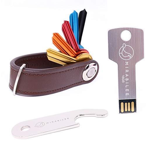 Key Organizer Keychain, 100% Real Leather Compact Key Holder + Sleek 16GB Key Shape Aluminum USB Flash Drive+Bottle Opener + Gift Box, BEST VALUE BUNDLE 3-in 1 SET- Highest quality Stylish and Rugged.
