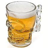 ACEHE Chope à bière en cristal de 500 ml avec motif tête de mort et os avec poignée pour boire du vin