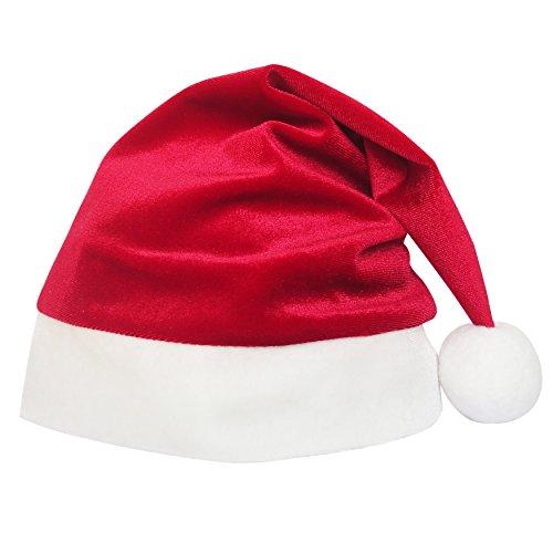 Sunny Fashion LL36 Girls Dress Christmas Hat Red Velvet Long Sleeve Holiday Size 10