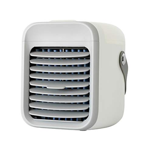 Blaux Portable AC - Personal Mini Air Conditioning Units with Handle, USB 2000mAh Battery Rechargeable, Wearable 3 Speeds Air Cleaner for Home, Office, Room - Rapid Cooling In Just 30 Seconds (White) (White)