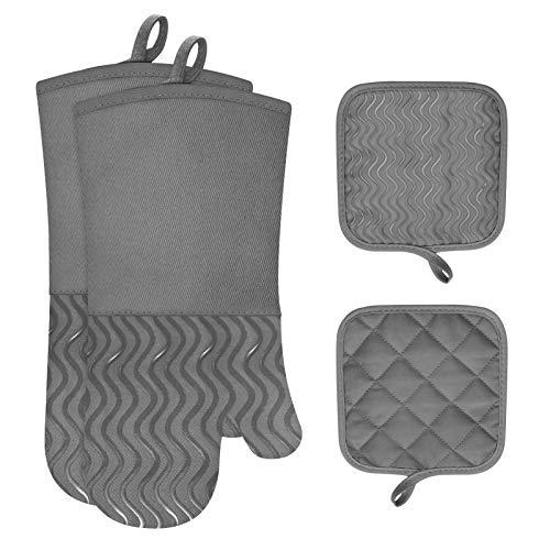 eletecpro Ofenhandschuhe, 2 Topflappen und 1 Paar Topfhandschuhe Hitzebeständige Silikon und Baumwolle, Handschuhe zum Küche Kochen, Backen, Grillen Grau