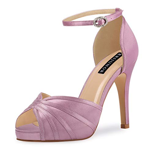 ERIJUNOR E1773 Women High Heel Sandals Ankle Strap Satin Bridal Evening Prom Shoes Lavender Size 9