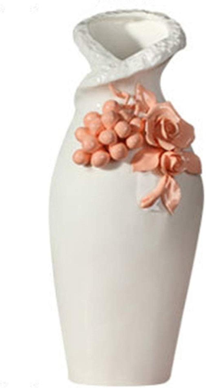 Hh001 Vase décoration Moderne Minimaliste en céramique Fleur Vase décoration européenne créative Salon Blanc Fleur décoration Maison Vase décoration OrneHommest ( Couleur   blanc , Taille   11.56.720CM )