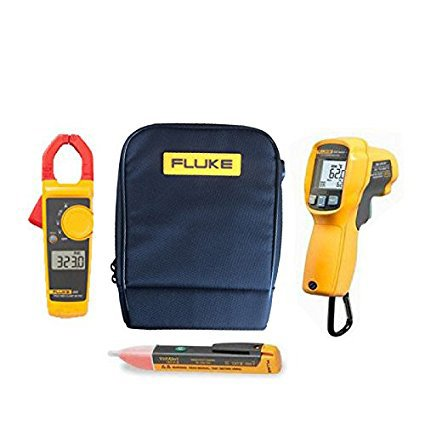 FLUKE Combo Set (323, 62MAX Plus, 1, C115)–Viene con AC FLUKE 323400A AC–600V AC/DC–Medidor de Corriente Digital con Pinza, 62MAX +/polvo resistente al agua, rígida, LCD Detector de infrarrojos (IR) Termómetro, 1AC Volt/voltstick & C115carcasa