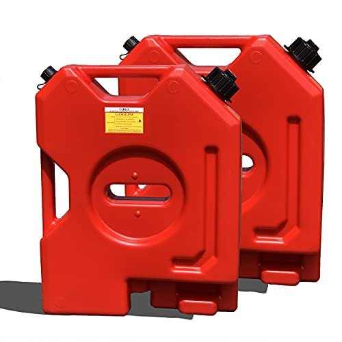 TARKII 2-Gallon Gasoline Container, Red Fuel Can for Vehicles,Portable Gas Tank with 2G Capacity (2 pcs, Red)