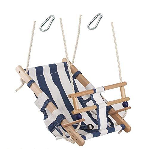 h2i Baby Stoff Schaukel im Matrosenlook blau/weiß mit Haltegurt für Indoor + Outdoor incl. Karabiner zum Einhängen (blau/weiß)
