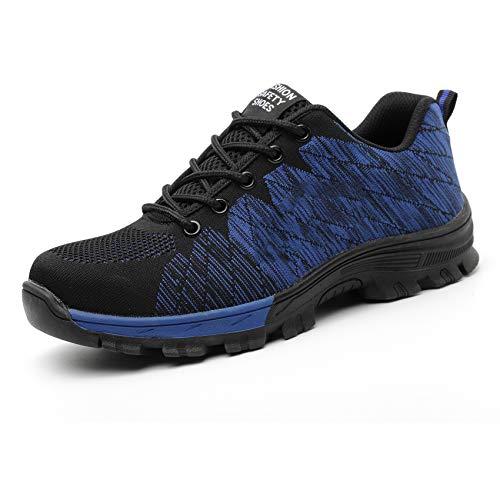ORPERSIST Calzado de Seguridad Mujer, Zapato de Seguridad Hombre Trabajo Resistente Perforaciones Suela Resistente Desgaste, Zapatos de Trabajo Mujer para Montañismo Obrero,Azul,UK5.5