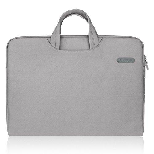 Arvok 15 15.6 Inch Waterbestendige Canvas Laptophoes met Handvat en ritsvak/Notebooktas/Notebooktas met Ultrabook-Tablet Draagtas/Etui Skin Cover voor Acer en meer, Grijs