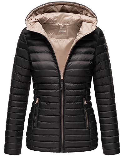 MARIKOO Damen Jacke Frühling Übergangs Outdoor Steppjacke Gefüttert Warm Kapuze 11 Farben XS - XXXL ASRAA (Schwarz, S)