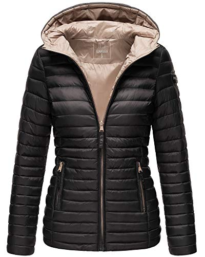 Marikoo Damen Jacke Steppjacke mit Kapuze Übergangsjacke ASR21 (Schwarz, XL)