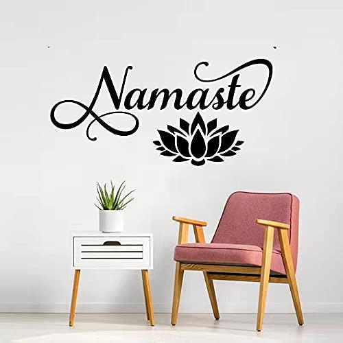 Namaste Lotus Wandtattoo Harmonie Balance Chakra Buddha Nirvana Gottheit Salbei Erleuchteter Wandaufkleber Yoga Dekor Vinyl Aufkleber 55x85cm