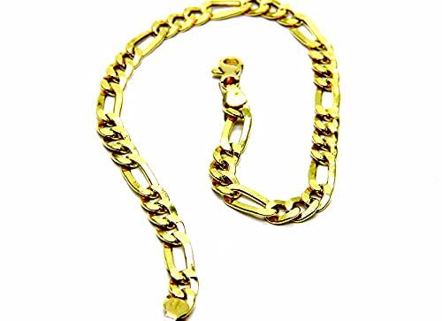 Pulsera para hombre de oro amarillo de 18 quilates (750), modelo clásico, de malla 3 + 1 cm, 20,5 cm