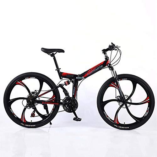 F-JWZS Unisex mountainbike, 21/24/27 Speed Dual Suspension vouwfiets, met 26 inch integraal wiel en schijfrem - voor student, kind en volwassene