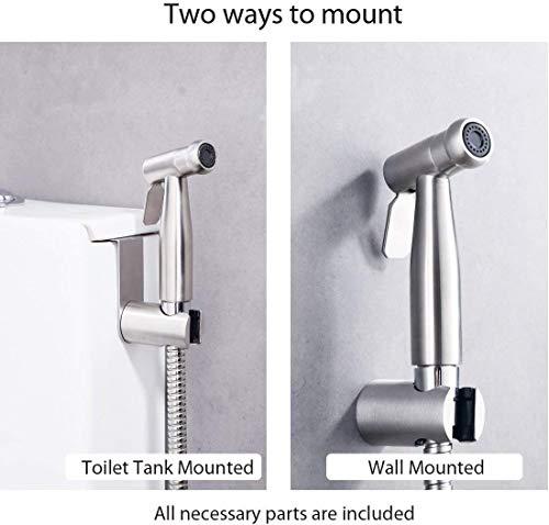 Pulvérisateur de toilette pour bidet/pulvérisateur à main en acier inoxydable avec crochet, facile à installer, pour l'hygiène personnelle et le pulvérisateur de WC à bassin