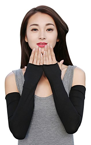 Women Stretchy Long Arm Sleeve Fingerless Gloves Arm Cover, Black, One Size