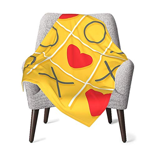 Love Decor Tic-Tac-Toe Game With Xoxo Flat Design Let Me Kiss You Funny Playful Romantic Illustration Yellow Red Baby Blanket, Baby Quilt, Baby Comfort Blanket, Baby Double Blanket