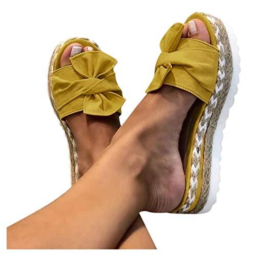 TOPEREUR Espadrilles Damen Sandalen Pantoletten mit Plateau und Schleife, Frauen Sandaletten Peep Toe Hausschuhe Schöne Sommerschuhe Bequeme Strandsandalen (Gelb, 38EU)