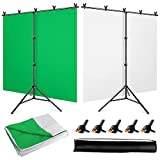 YAYOYA White-Green Screen Backdrop Stand Kit with 5x6.5ft 2-in-1 Reversible Chromakey Green Screen White Backdrop and Portable T-Shaped Background Support Stand, for Live Streaming Portrait Shooting