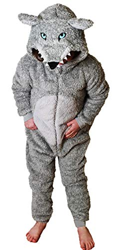 TopsandDresses Childrens Boys or Girls Kids Onesie Sleepsuit All-in-One Wolf 8-9