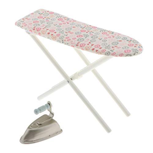 perfeclan Juego de Muebles de casa de muñecas, Plancha en Miniatura + Tabla de Planchar, Accesorios de lavandería de Cocina de casa de muñecas 1: 6