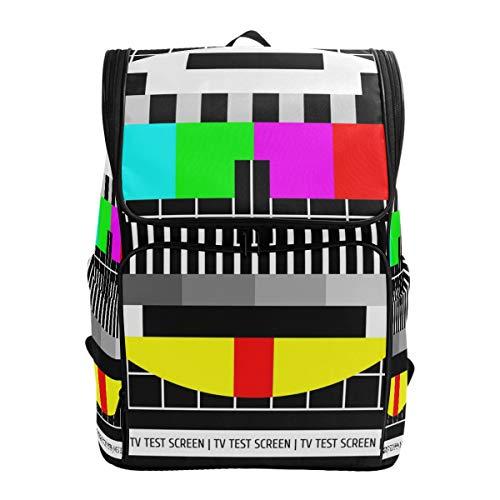Ahomy Unisex Schulrucksack Test TV Bildschirm großes Fach College Schule Computer Tasche Arbeit Rucksack für Männer Frauen