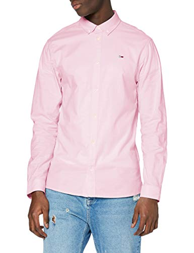 Tommy Jeans TJM Stretch Oxford Shirt Camisa, Pearly Pink, XL para Hombre