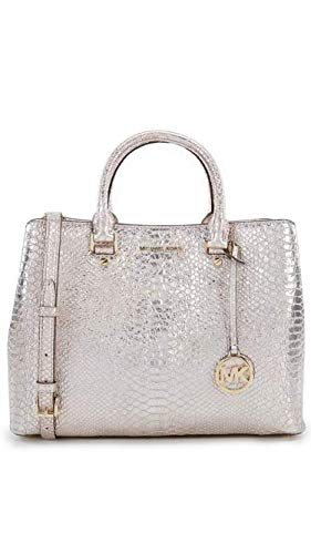 MICHAEL Michael Kors, the Michael Kors Savannah Snake Large Satchel features: Goat leather Zip closure Gold-tone hardware Interior features one back compartment with one back zip pocket, two back slip pockets, one front and center zip compartments wi...